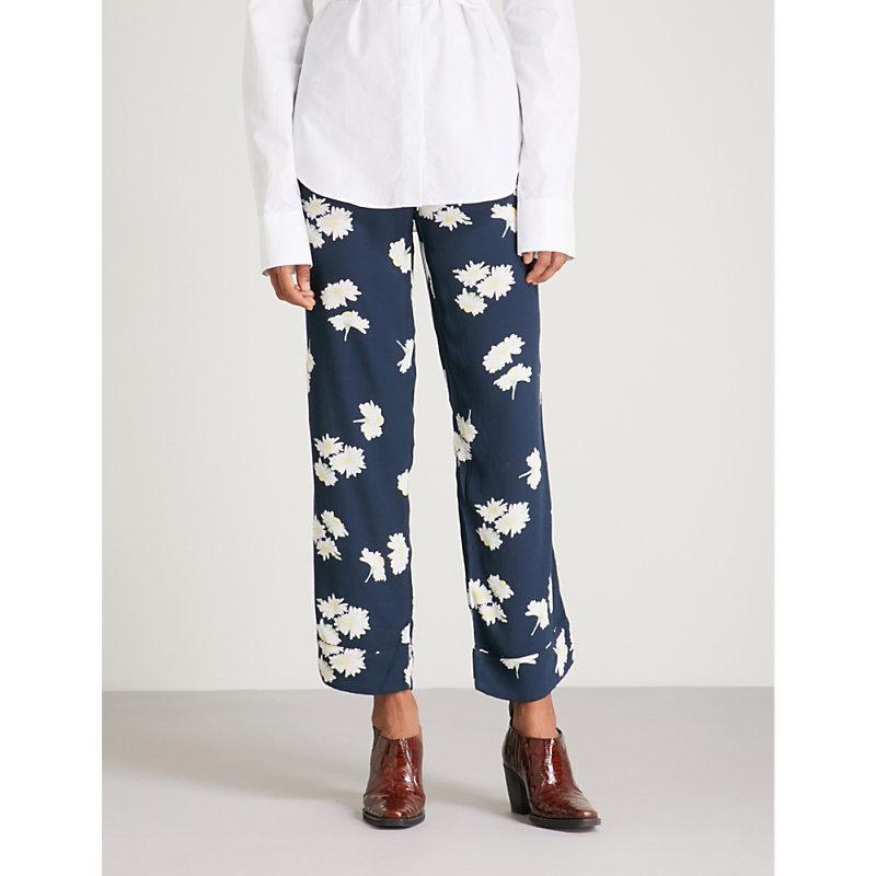 2e7f85f3 Ganni Silvery Crepe Trousers In Blue | ModeSens