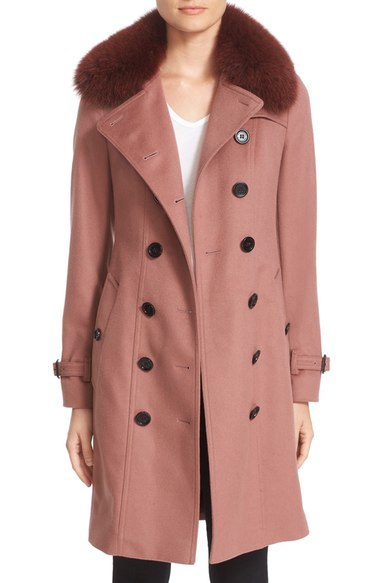 f1be30f411beb2 BURBERRY. 'Sandringham' Wool & Cashmere Trench Coat With Genuine Fox Fur ...