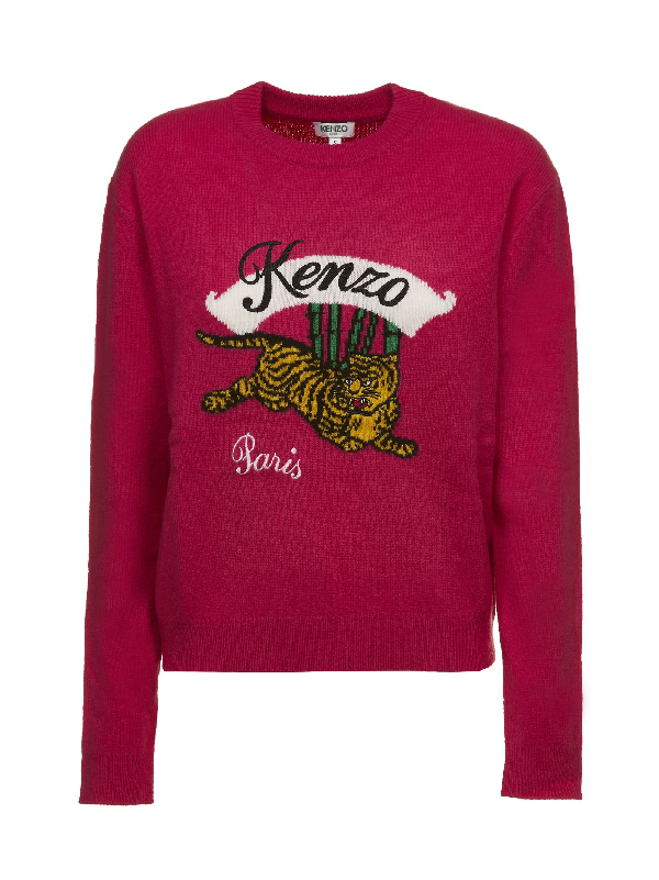 b417ab6693e Kenzo Jumping Tiger Red Wool Jumper In Deep Fuschia | ModeSens
