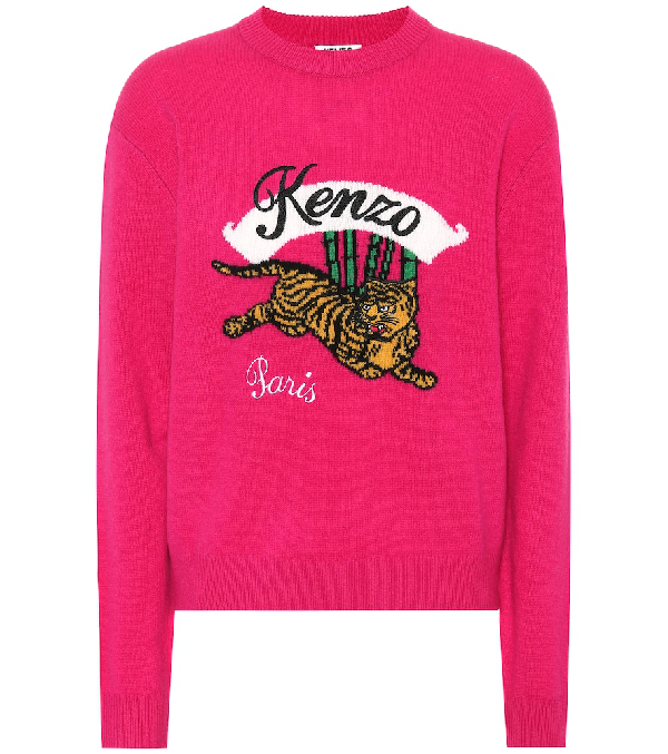 Kenzo Jumping Tiger Red Wool Jumper In Pink