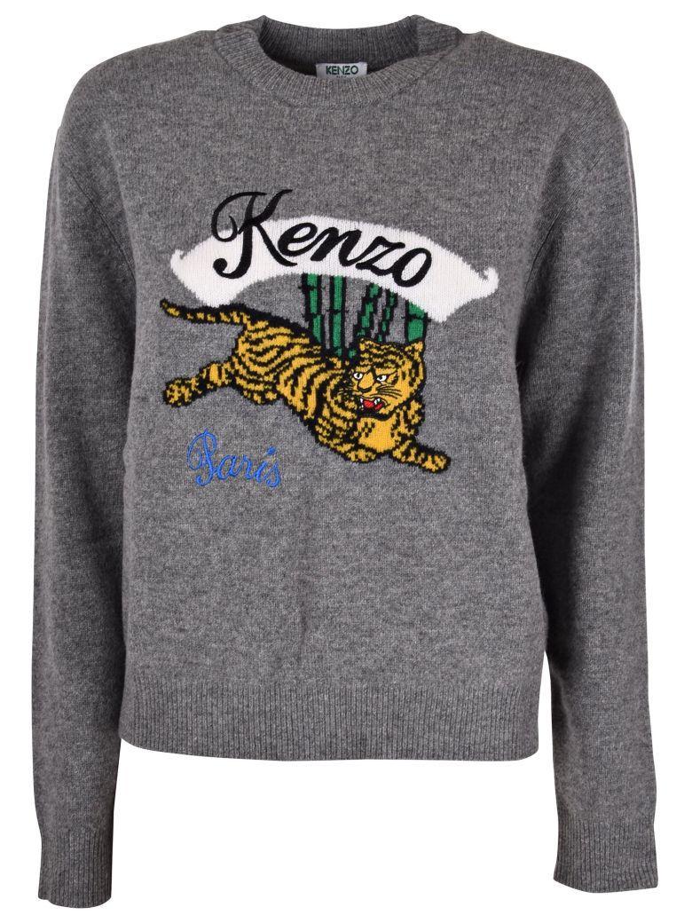 adace388286 Kenzo Bamboo Tiger Grey Wool Jumper | ModeSens