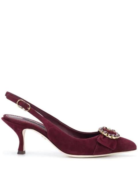 Dolce & Gabbana Crystal-Embellished Suede Kitten-Heel Pumps In 8H324 Bordeaux