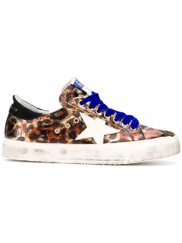 fbfe2aaeeb51 Golden Goose May Star Leopard-Print Low-Top Platform Sneakers In Black
