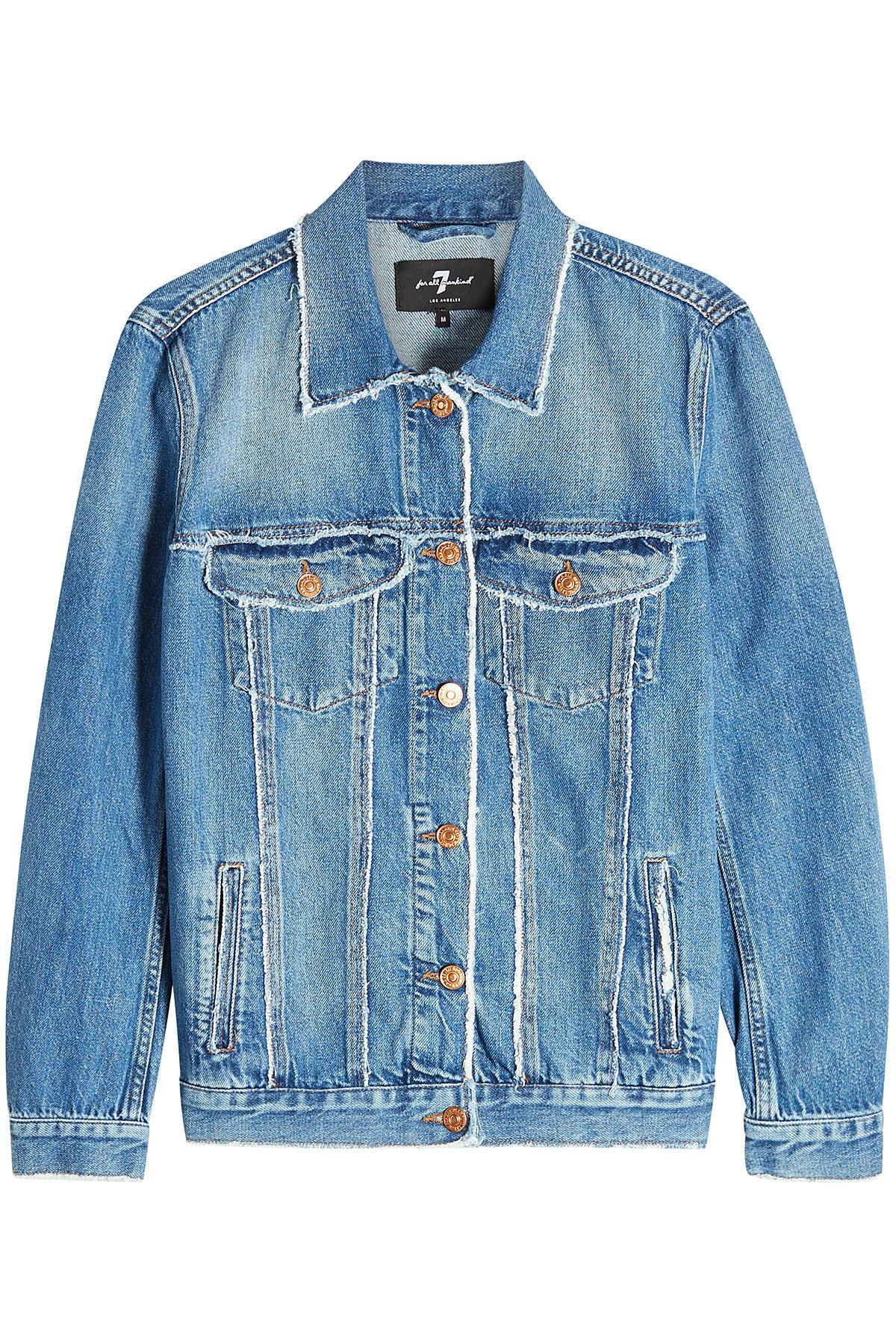 7 For All Mankind Oversize Modern Trucker Denim Jacket In Blue