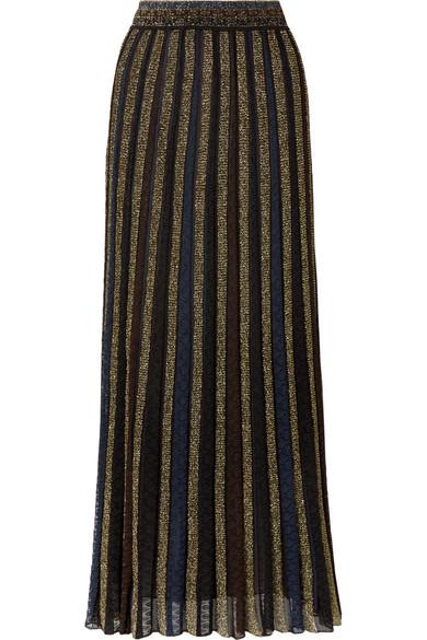 7b0ff76e09b1 Missoni Striped Metallic Crochet-Knit Maxi Skirt In Black | ModeSens