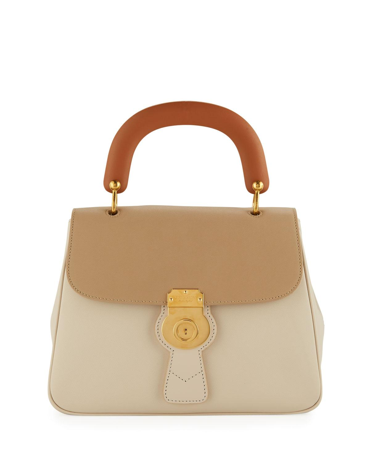 f6e48d7bcbc Burberry Trench Large Leather Top-Handle Satchel Bag, Limestone/Honey In  Limestone Honey