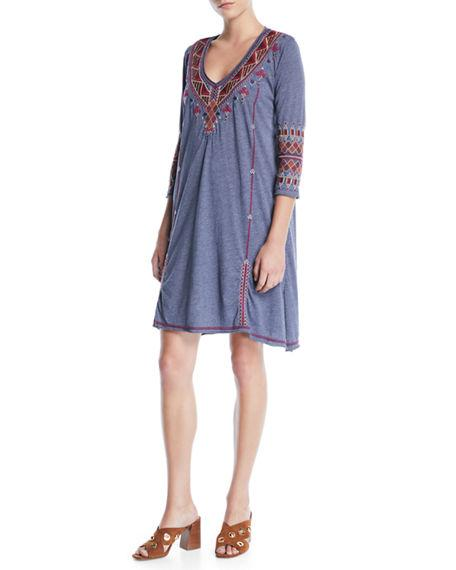 0e51b6a4b31 MARJAN 3/4-SLEEVE EMBROIDERED TUNIC DRESS. Johnny Was dress in embroidered  jersey. Unfinished, rolled-up edges. Soft V neckline. Three-quarter sleeves.
