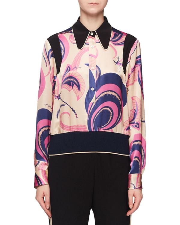 17ebbbe85b8c Dries Van Noten Deco Floral-Print Silk Blouse W/ Elastic Hem In Ecru ...