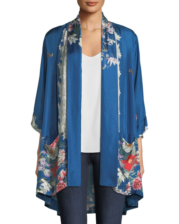 456284a2dad Johnny Was Samira Long Floral-Print Silk Kimono Jacket, Plus Size In Multi  Print