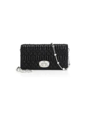 0f8020c0f9a Miu Miu Matelasse Leather Crystal Chain Shoulder Bag In Nero