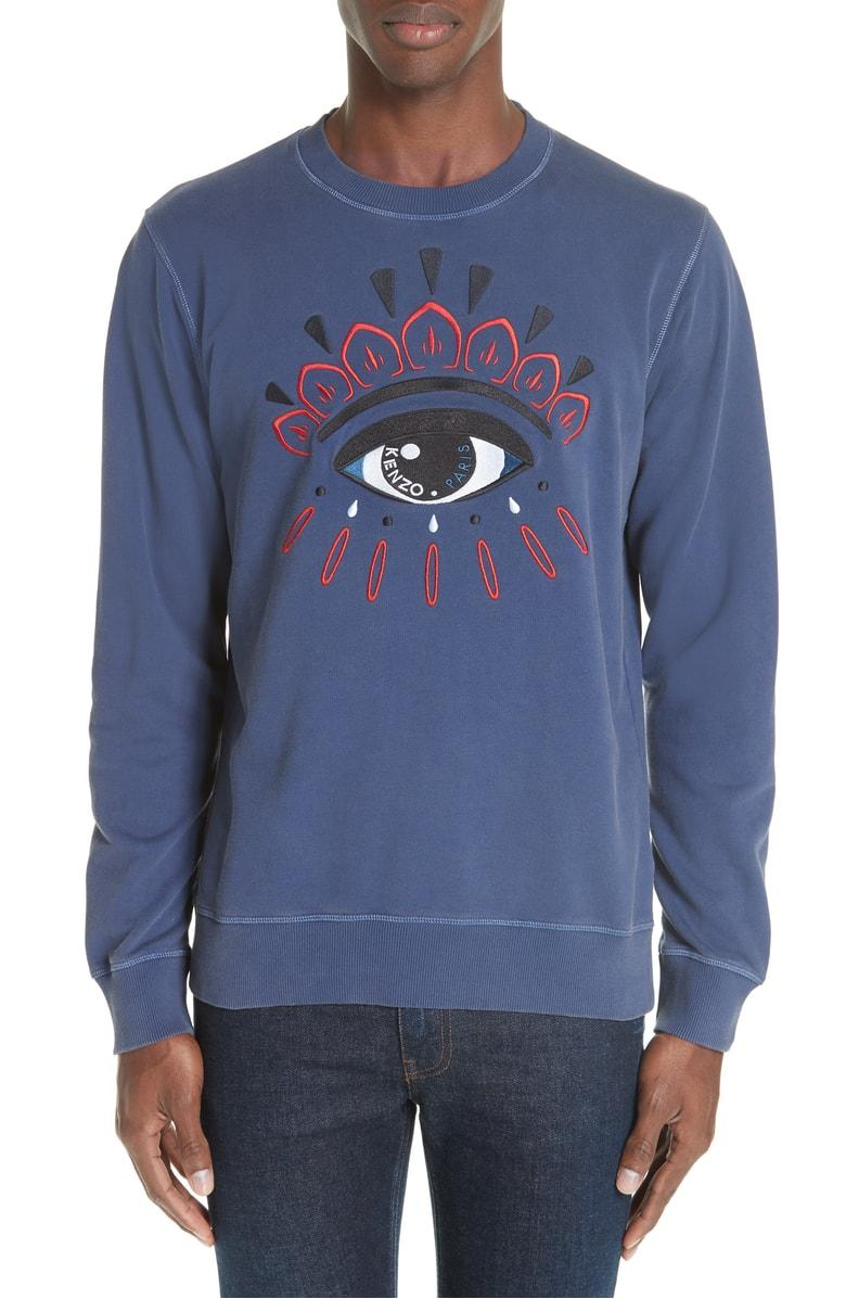 Kenzo Bleached Eye Embroidered Sweatshirt In Navy