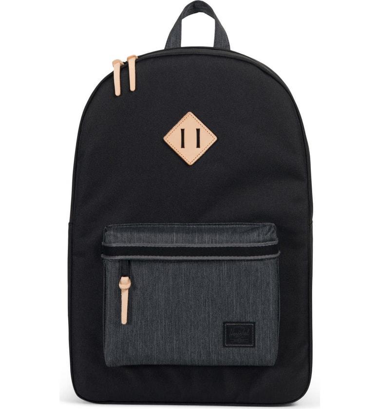 1a76af5a41e Herschel Supply Co. Heritage Offset Denim Backpack - Black In Black  Black  Denim