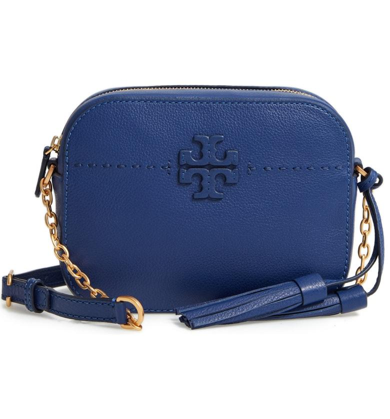 f95cf4a37310 Tory Burch Mcgraw Leather Camera Bag - Blue In Bright Indigo