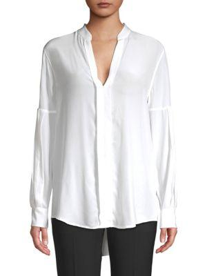 054f337773eece Equipment Estella Long-Sleeve Silk V-Neck Blouse In Bright White ...
