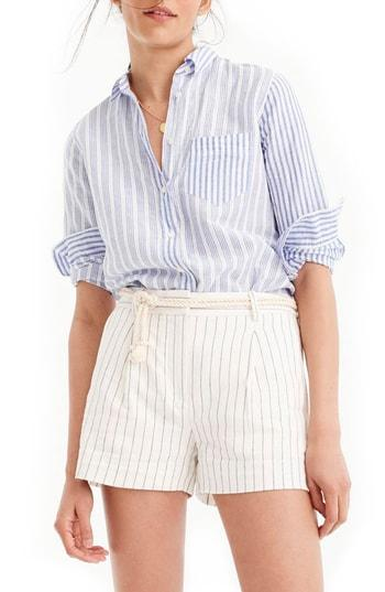 e799407e J.Crew Relaxed Cotton Linen Boy Shirt In Blue   ModeSens