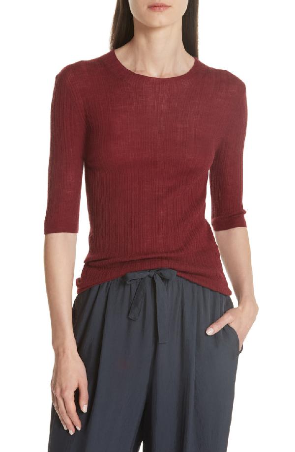 Vince Shrunken Merino Wool Sweater In Merlot Modesens