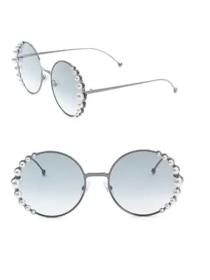 6be3978c929 Fendi 58Mm Round Sunglasses With Pearls In Dark Ruthenium