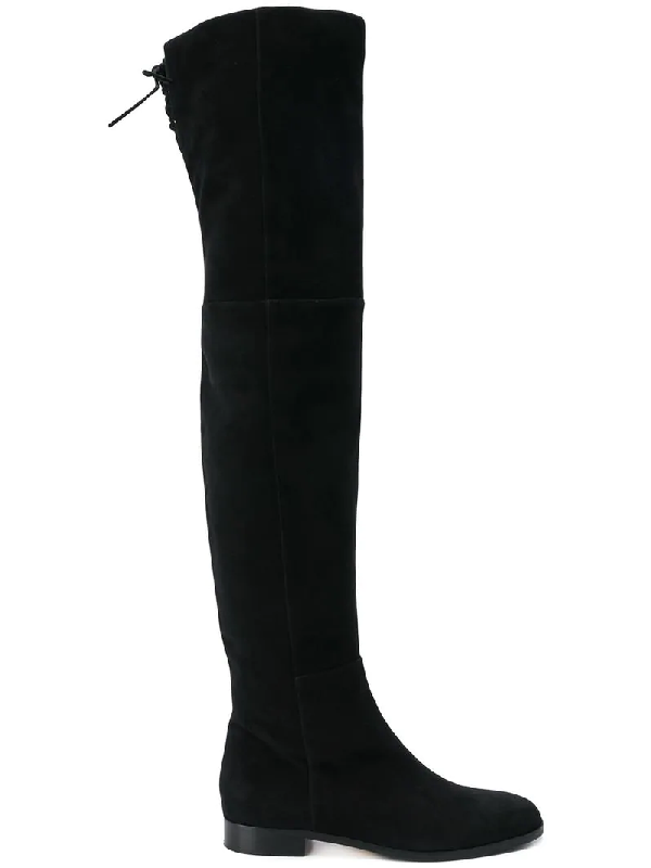 4a118911a2c Sergio Rossi Flat Over-The-Knee Boots In Suede In Black