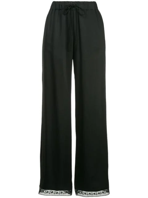 Mm6 Maison Margiela Flared Lace Trousers In Black