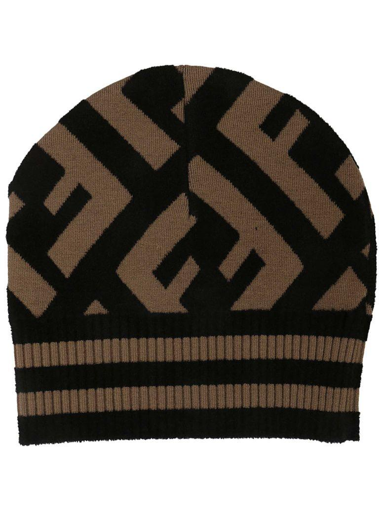 1a1e97596 Ff Logo Beanie Hat In Black in Camel