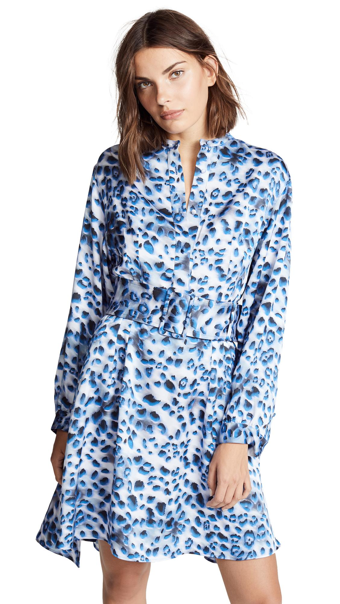 113bcc1b4e1 KochÉ Belted Shirt Dress In Blue Leopard