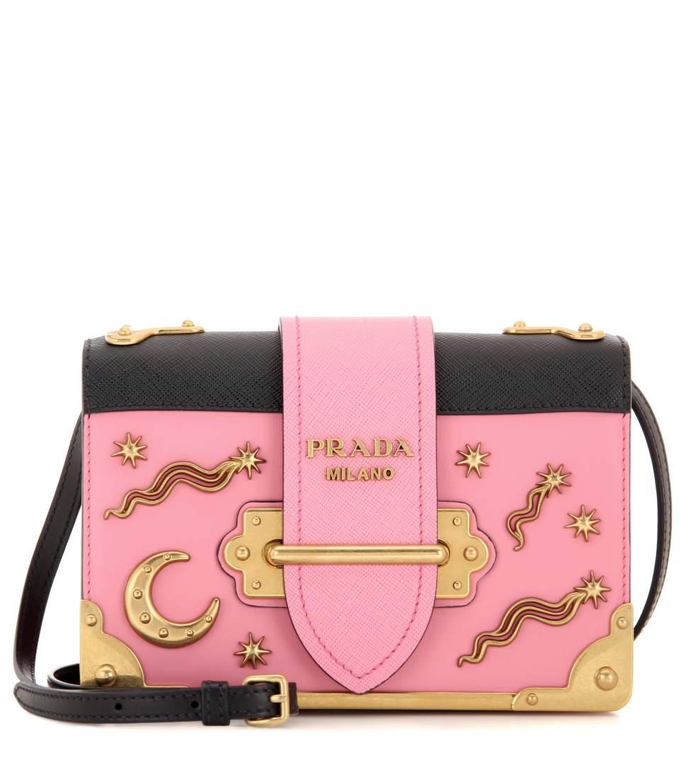7b151c50478e Prada Cahier Embellished Leather Shoulder Bag In Legoeia   ModeSens