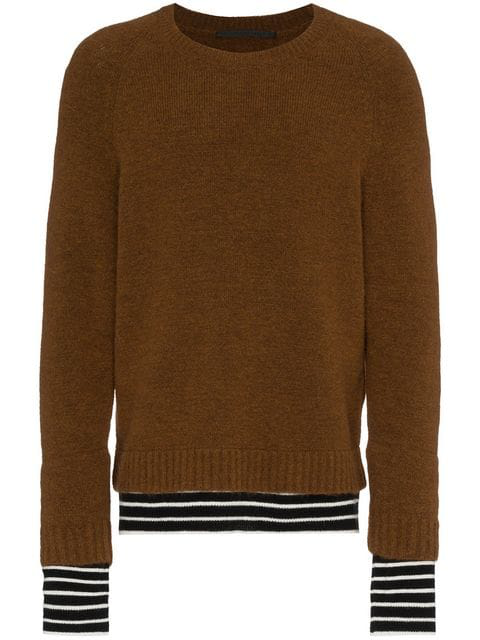Haider Ackermann Wool And Cashmere-Trimmed Knitted Sweater - Brown