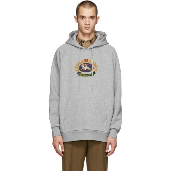 ae5b6e6ee33 Burberry Embroidered Archive Logo Jersey Hoodie In Palgrymel