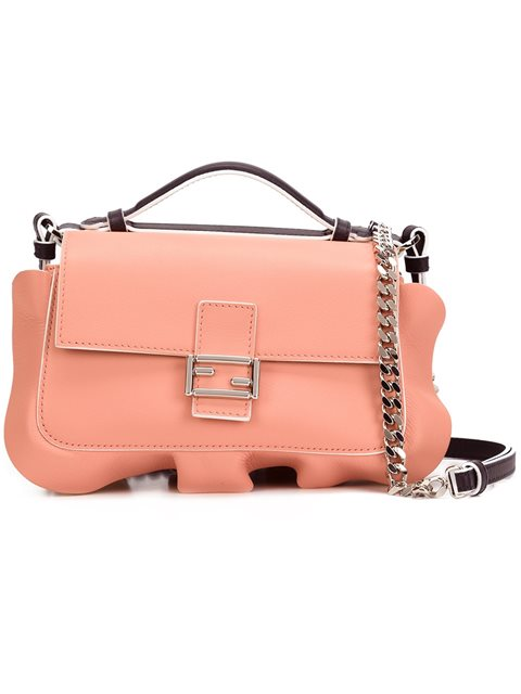a7db84e4071 Fendi Double Micro Baguette Leather Shoulder Bag In Night Blue  Chantilly   Peach
