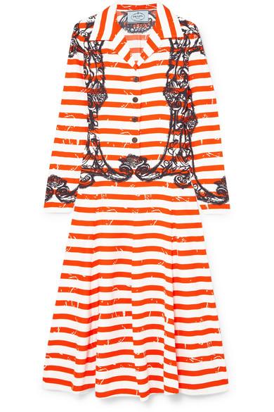 Prada Printed Crepe De Chine Midi Dress In Orange