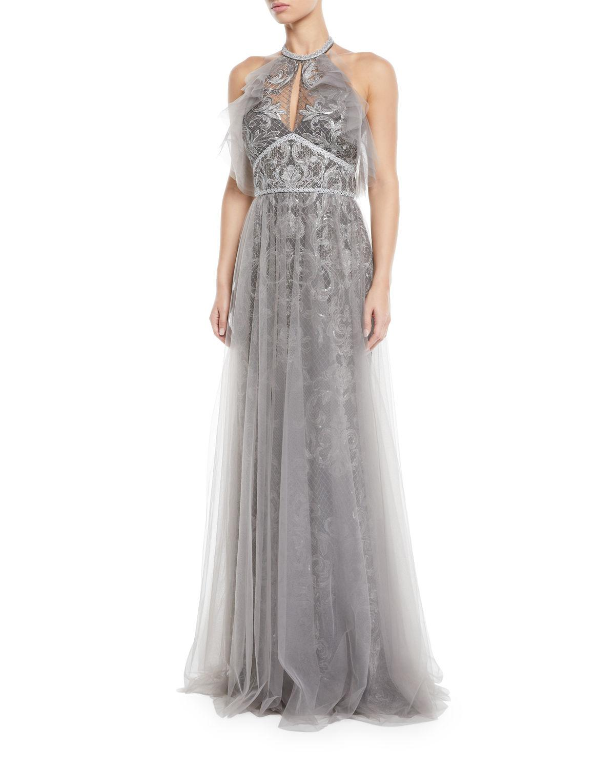 1f913565 Marchesa Notte Embroidered Halter Gown W/ Tulle Skirt Overlay, Silver