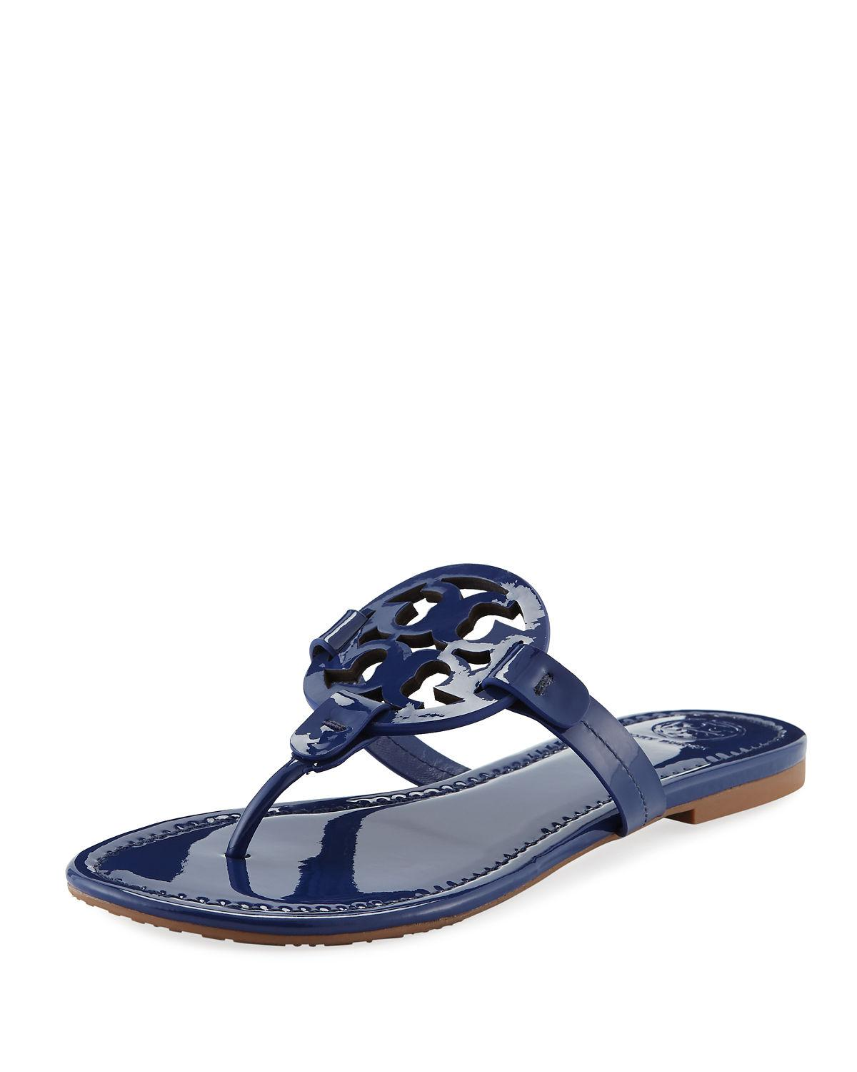 0aeb0db888d Tory Burch Miller Medallion Patent Leather Flat Thong Sandals In Bright  Indigo