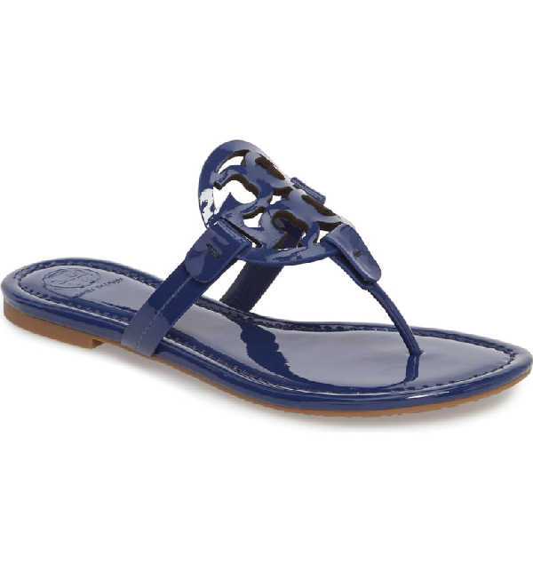 16669ce39 Tory Burch Miller Medallion Patent Leather Flat Thong Sandals In Bright  Indigo