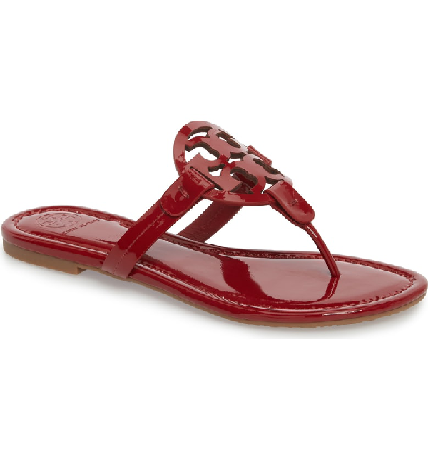 83abb2a9a Tory Burch Miller Medallion Patent Leather Flat Thong Sandals In Dark  Redstone