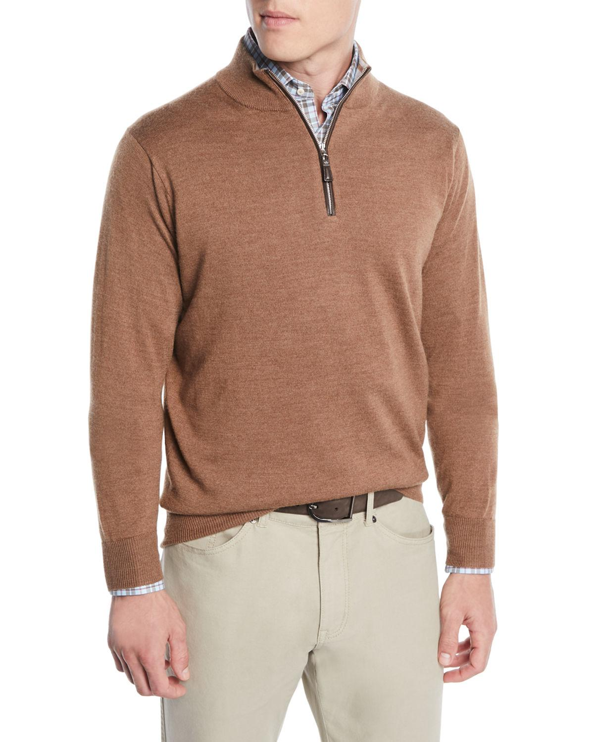 1d86e3ab6 Peter Millar Men s Crown Soft Leather-Trim Half-Zip Sweater In Brown ...