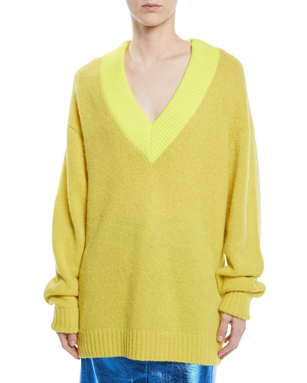 05f152c129 Airy Alpaca Pullover Sweater W/ Contrast Rib in Yellow