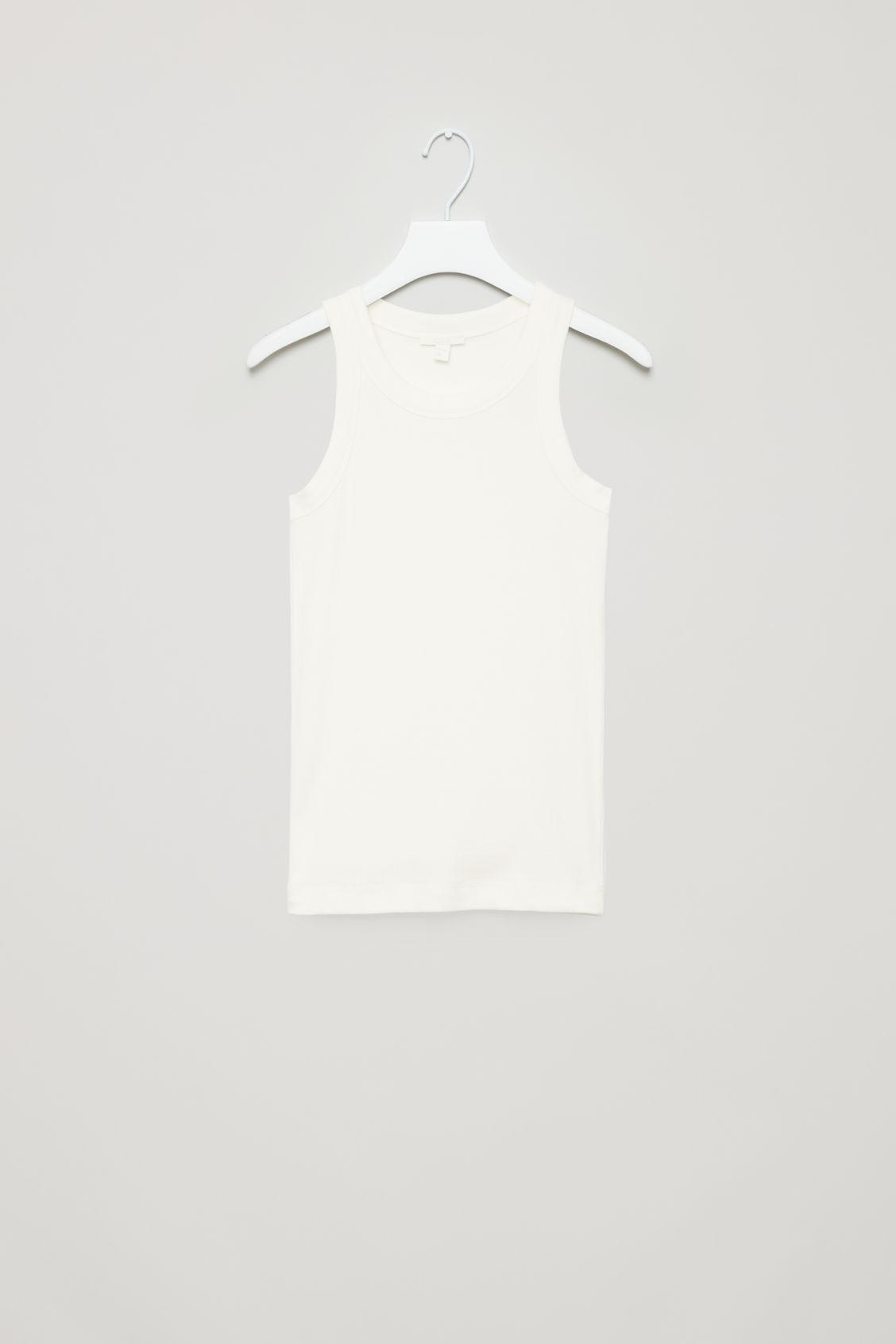 Cos Ribbed Jersey Vest Top In White