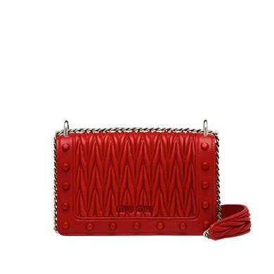 Miu Miu Leather Shoulder Bag In Fire Engine Red