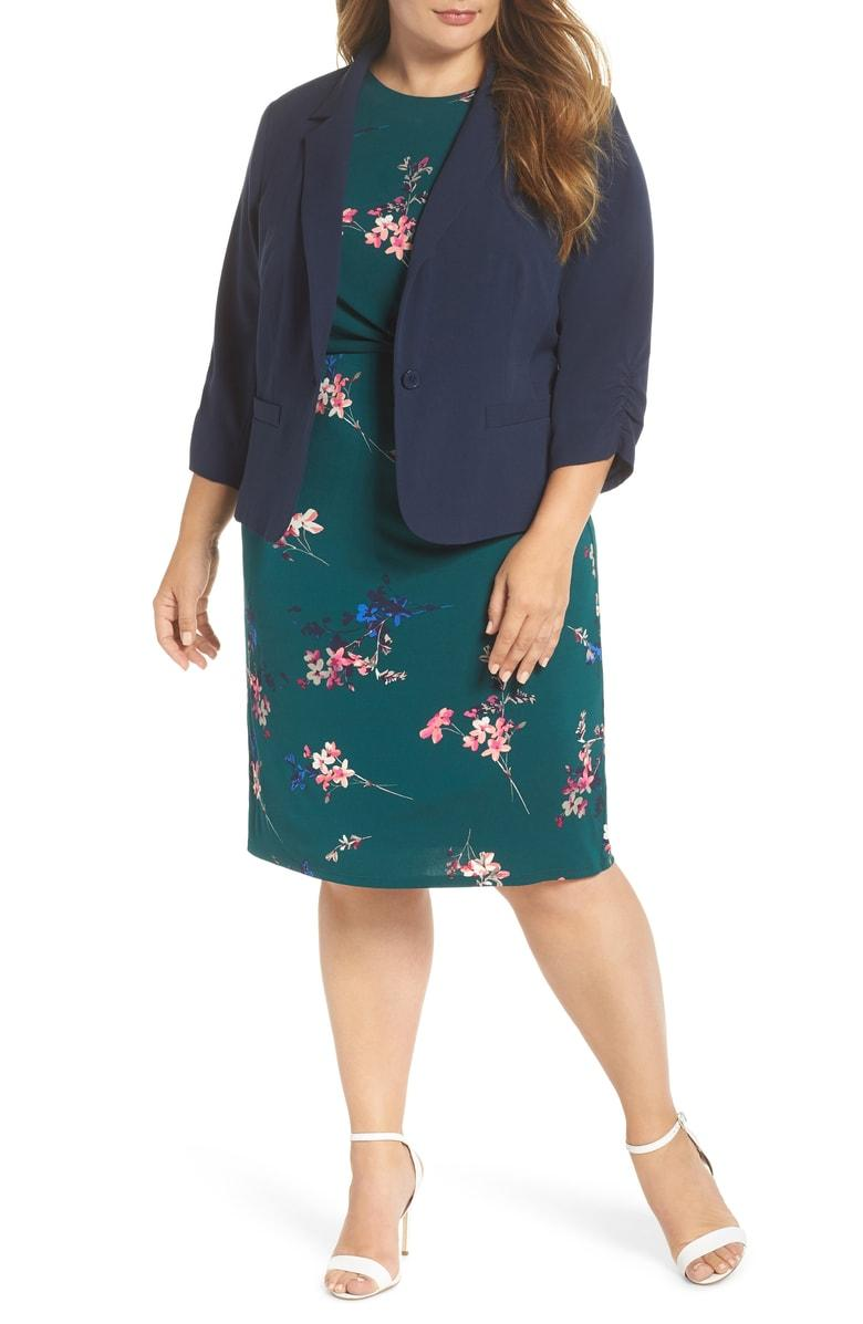 Eliza J Ruched Sleeve Blazer In Navy