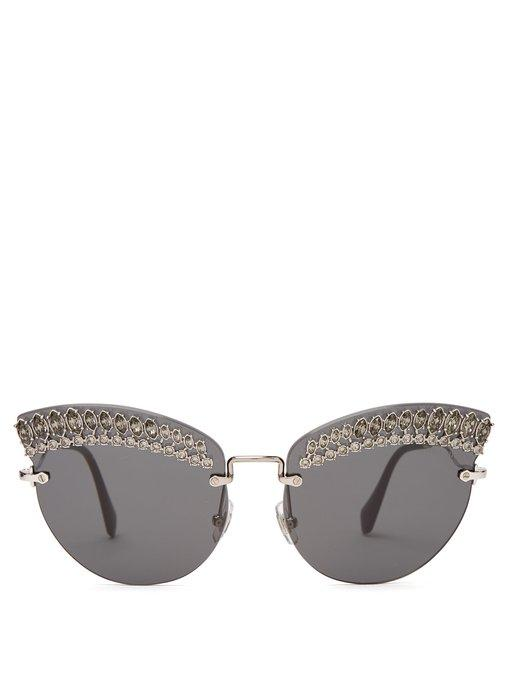 9ece4364d5 Miu Miu Round Cat-Eye Embellished Sunglasses In Black Multi