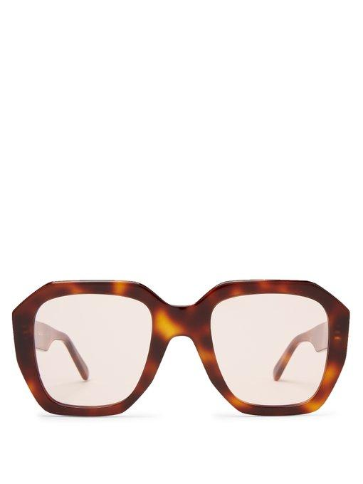 83e8d99440a77 Celine Oversized Tortoiseshell Acetate Sunglasses In Brown