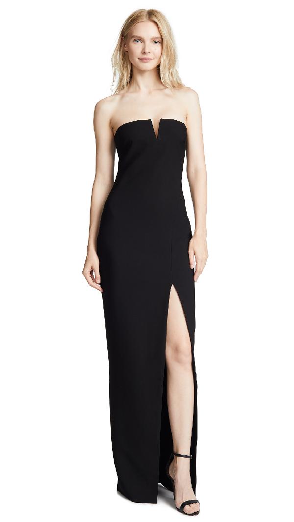 b22fe9455457 Likely Windsor Strapless Gown W/ High Slit In Black | ModeSens