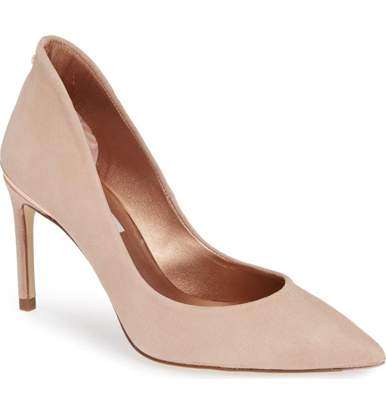e5efa40d555fdd Ted Baker Savio Pointy Toe Pump In Nude Suede