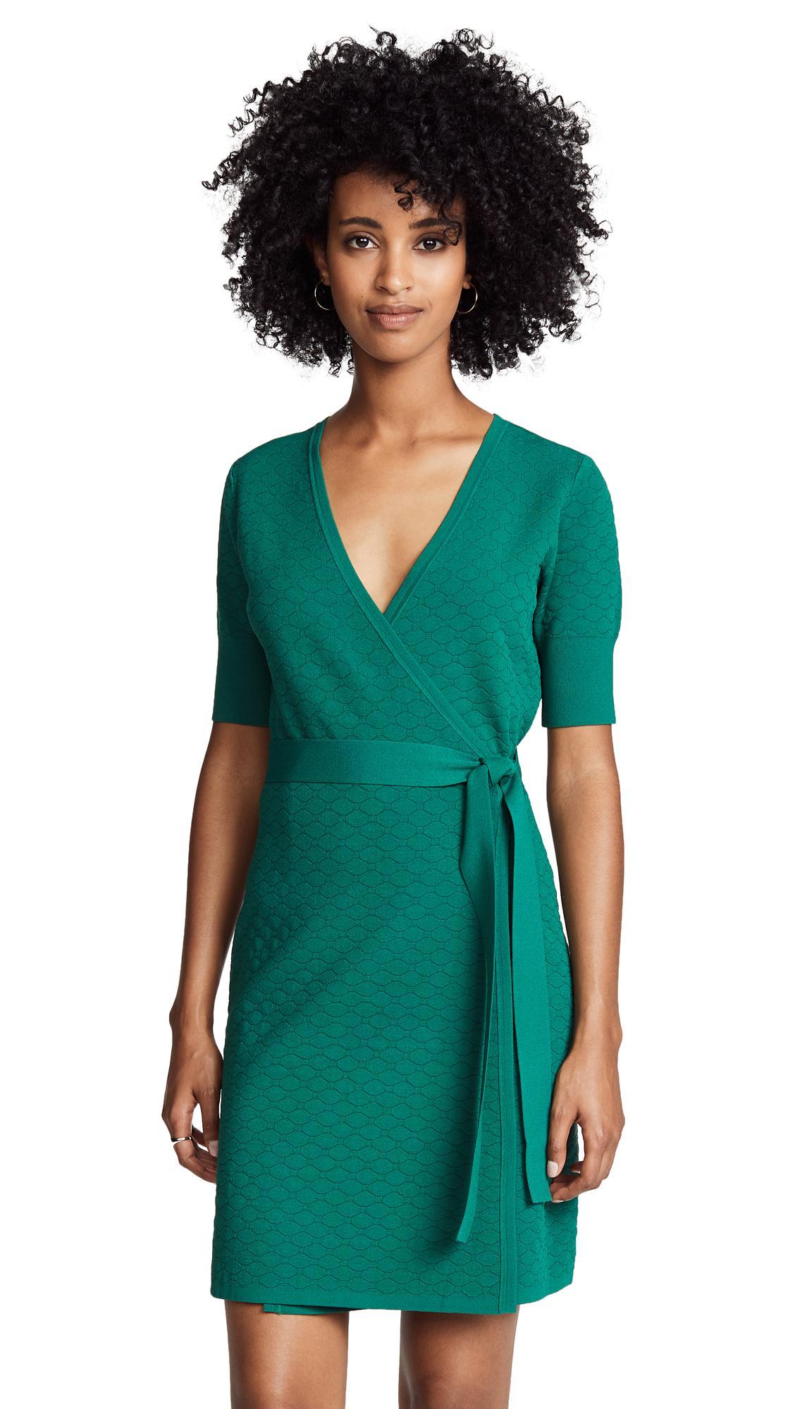 87402d033ba Diane Von Furstenberg Sweater Wrap Dress In Pine