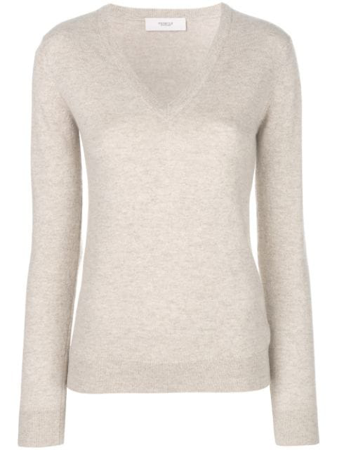 Pringle Of Scotland V-neck Fitted Sweater In Neutrals