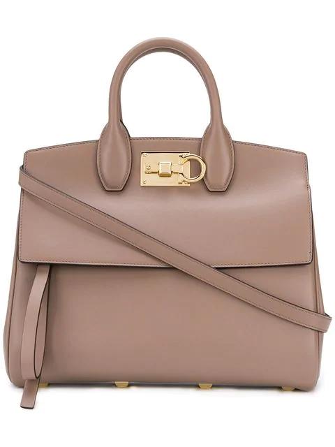 Salvatore Ferragamo Studio Leather Shoulder Bag In Female
