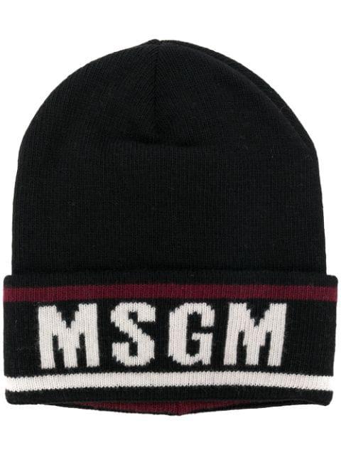 Msgm Beanie With Logo In Black