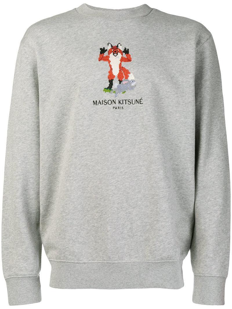 05775622 Maison KitsunÉ Maison Kitsune Grey Pixel Fox Sweatshirt In Grey Melang
