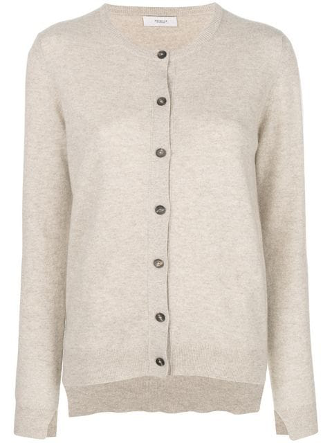 Pringle Of Scotland Classic Fitted Cardigan In Neutrals