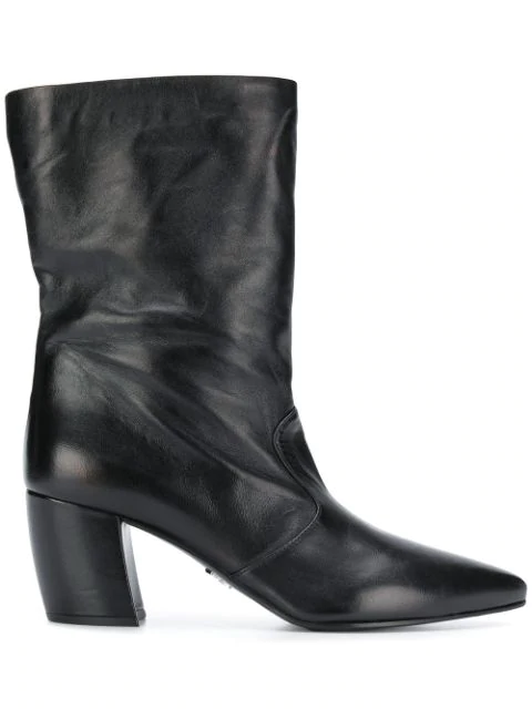 Prada Pointed Toe Boots In Black